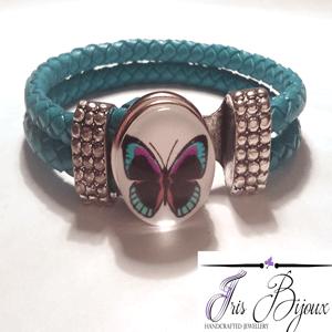 bratara-piele-naturala-turquoise-impletita-si-buton-interschimbabil-cu-fluture-turquoise
